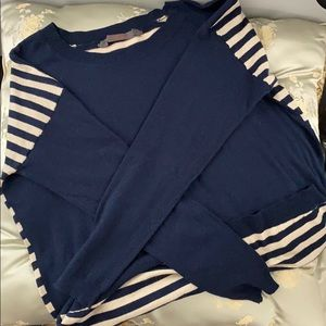 FEEL THE PIECE Navy front-Striped back sweater S/M